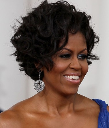 And even a shorter curly-styled First Lady, Michelle Obama.
