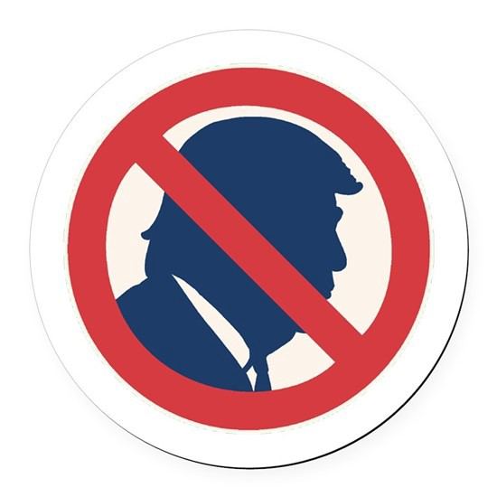 Graphic image of Donald Trump with a Slash across it, indicating anti-Trump